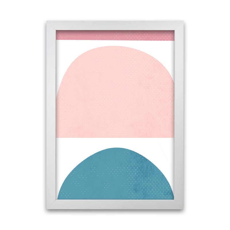 Abstract Blue and Pink Original A1 White Grain Frame
