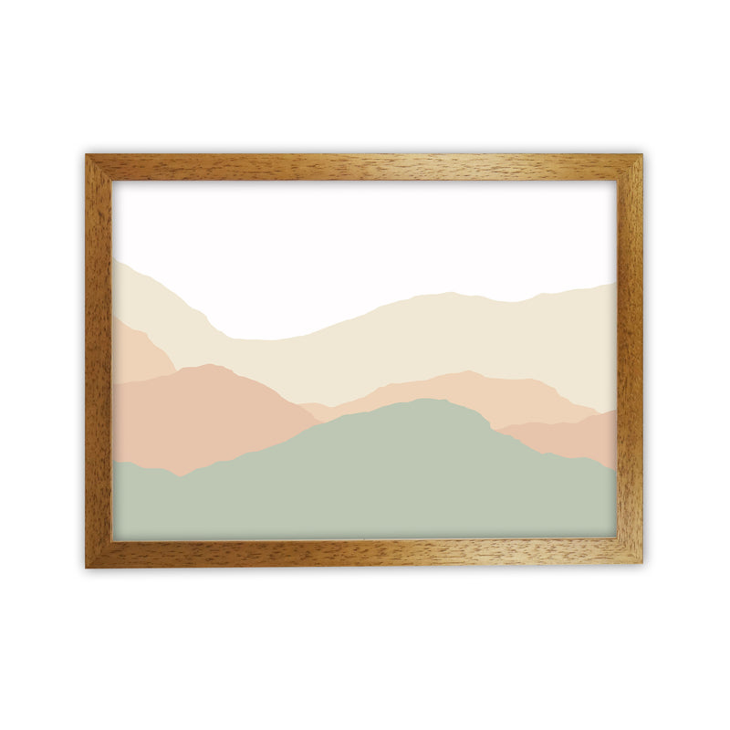 Abstract Landscape Light print  A1 Honey Oak Frame