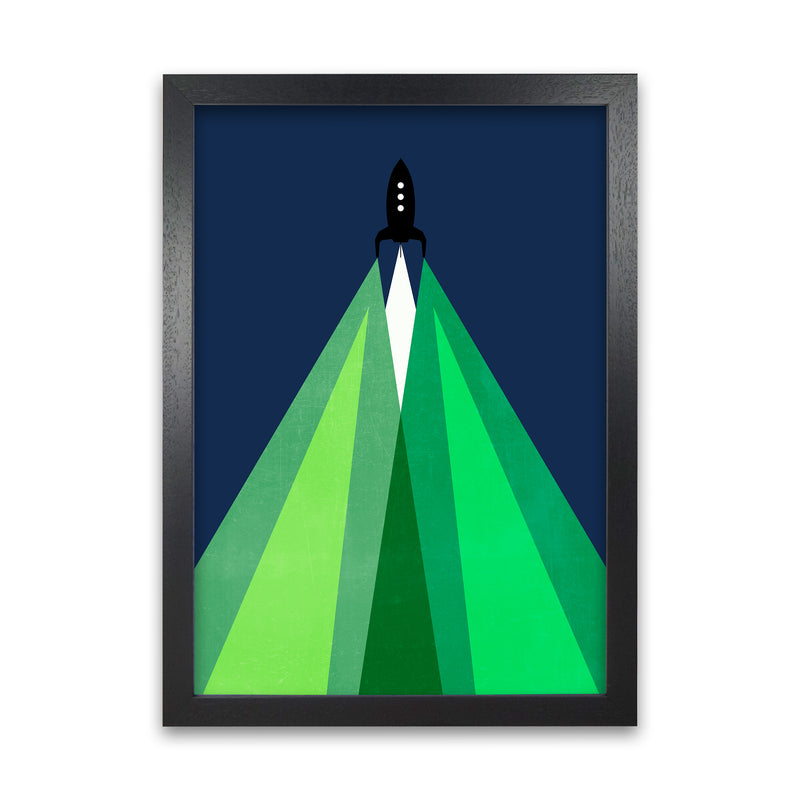 Green and Blue Kids Rocket A1 Black Grain Frame