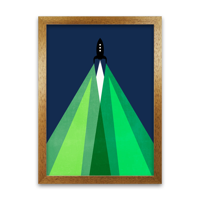 Green and Blue Kids Rocket A1 Honey Oak Frame