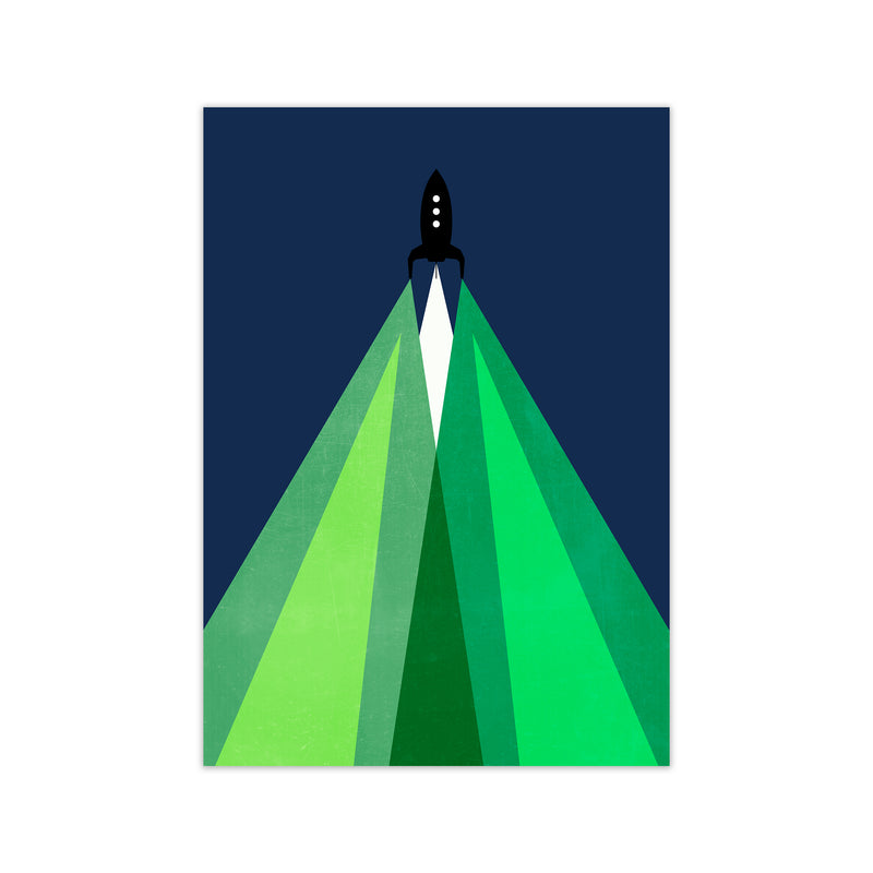 Green and Blue Kids Rocket A1 Print Only
