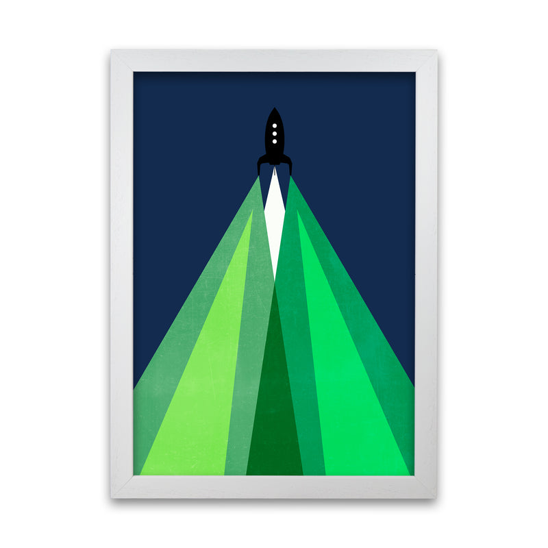Green and Blue Kids Rocket A1 White Grain Frame