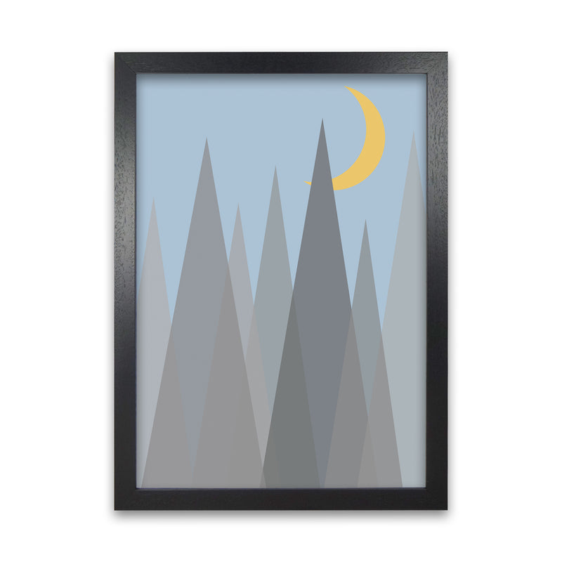 Day and Night Nursery Mid Century Modern Art Print A1 Black Grain Frame