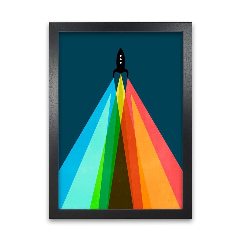 Rainbow and Navy Rocket A A1 Black Grain Frame