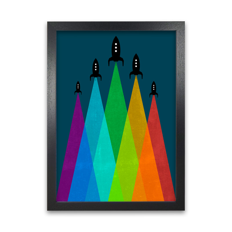 Rainbow and Navy Rocket B A1 Black Grain Frame