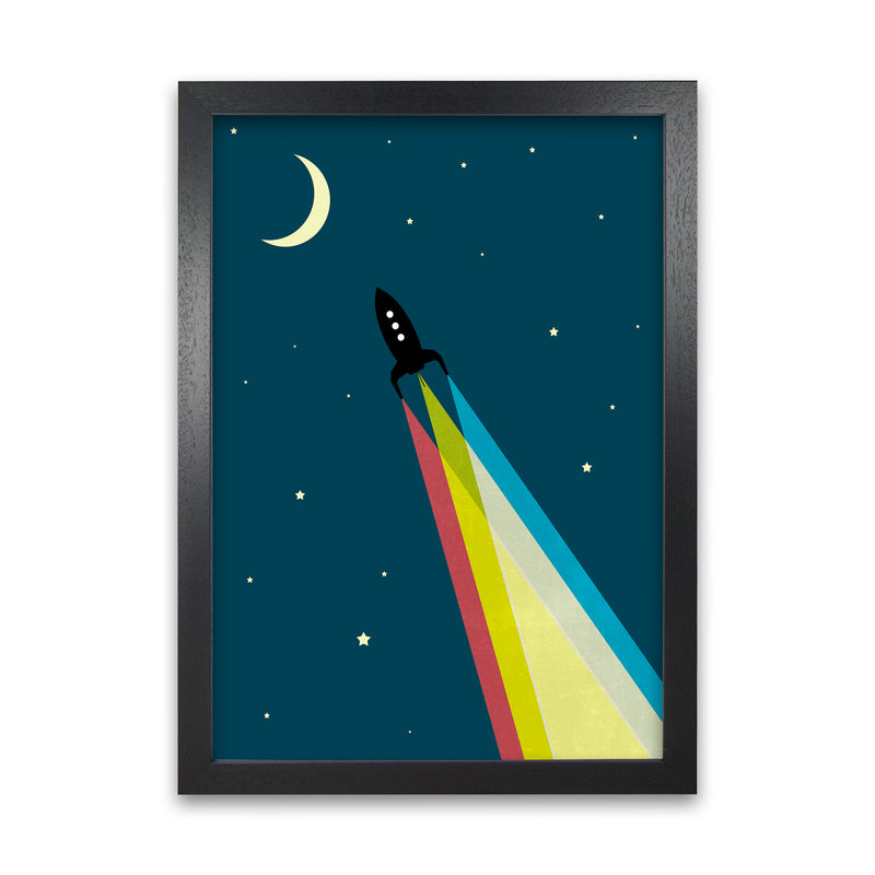 Rocket Bedroom Print A A1 Black Grain Frame