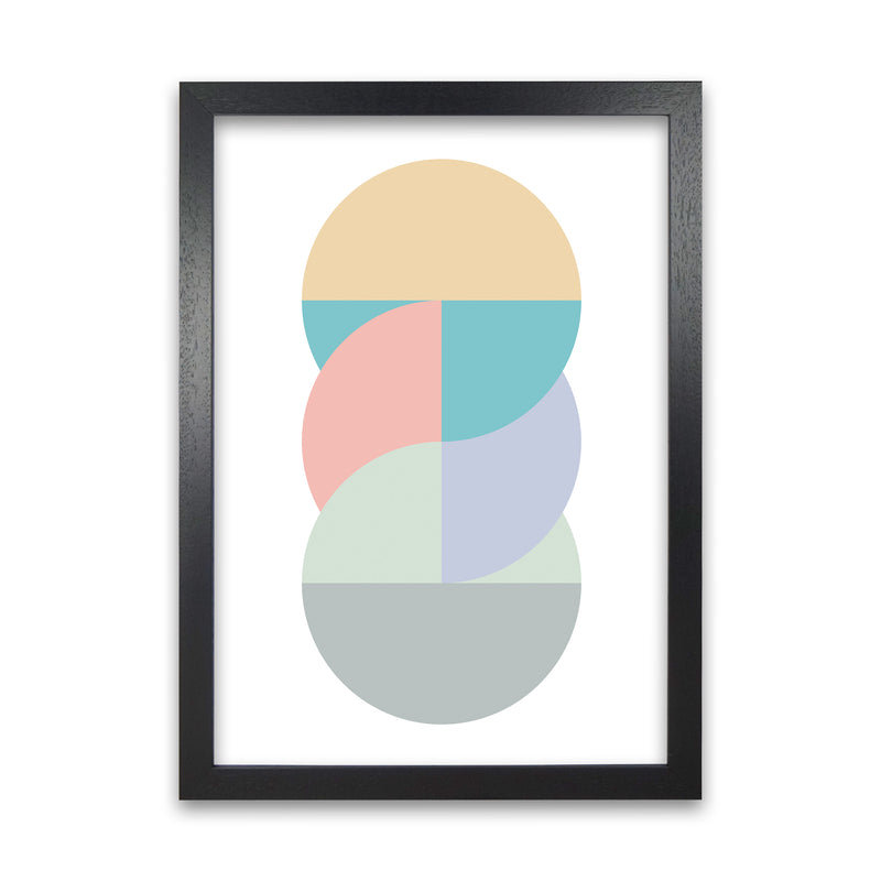 Abstract Pastel Nursery Print B A1 Black Grain Frame