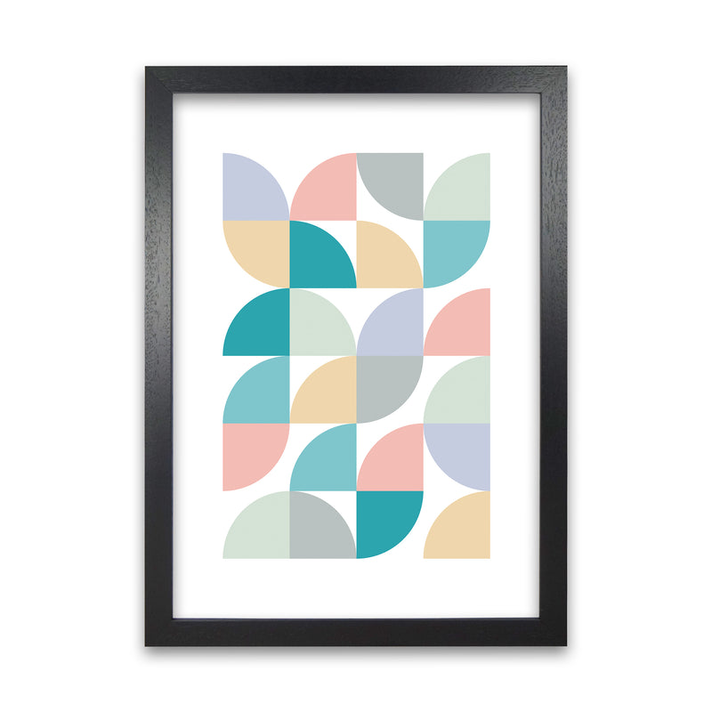 Abstract Pastel Nursery Print C A1 Black Grain Frame