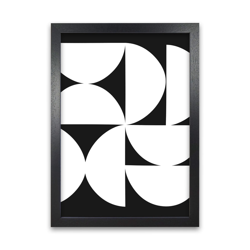 Abstract Black and White Half Circles Original A1 Black Grain Frame