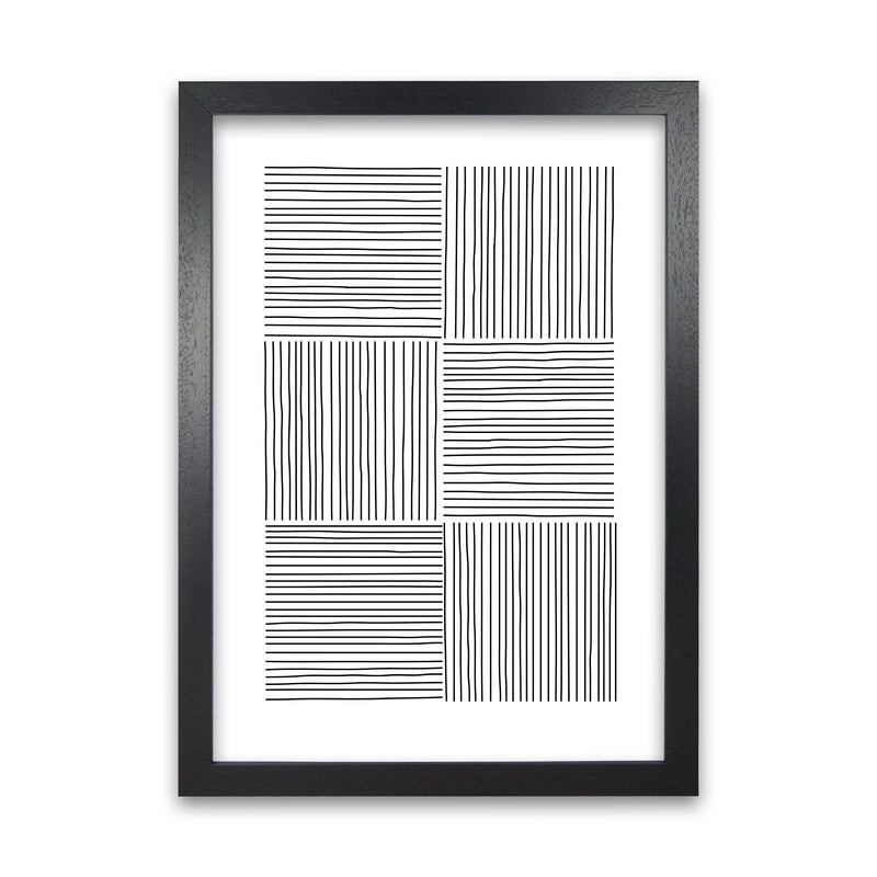 Black and White Squared Lines A1 Black Grain Frame
