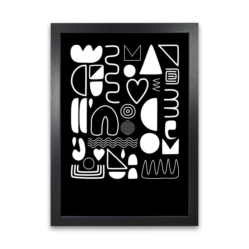 White and Black Scandi Shapes A1 Black Grain Frame