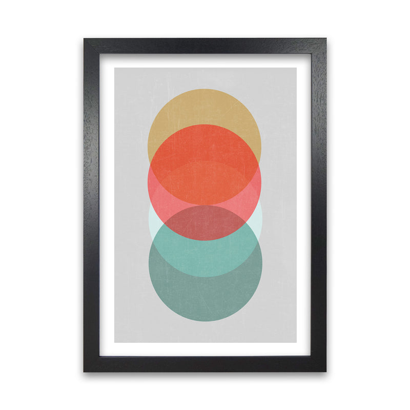 Mid Century Circles in Scandi Colours A A1 Black Grain Frame