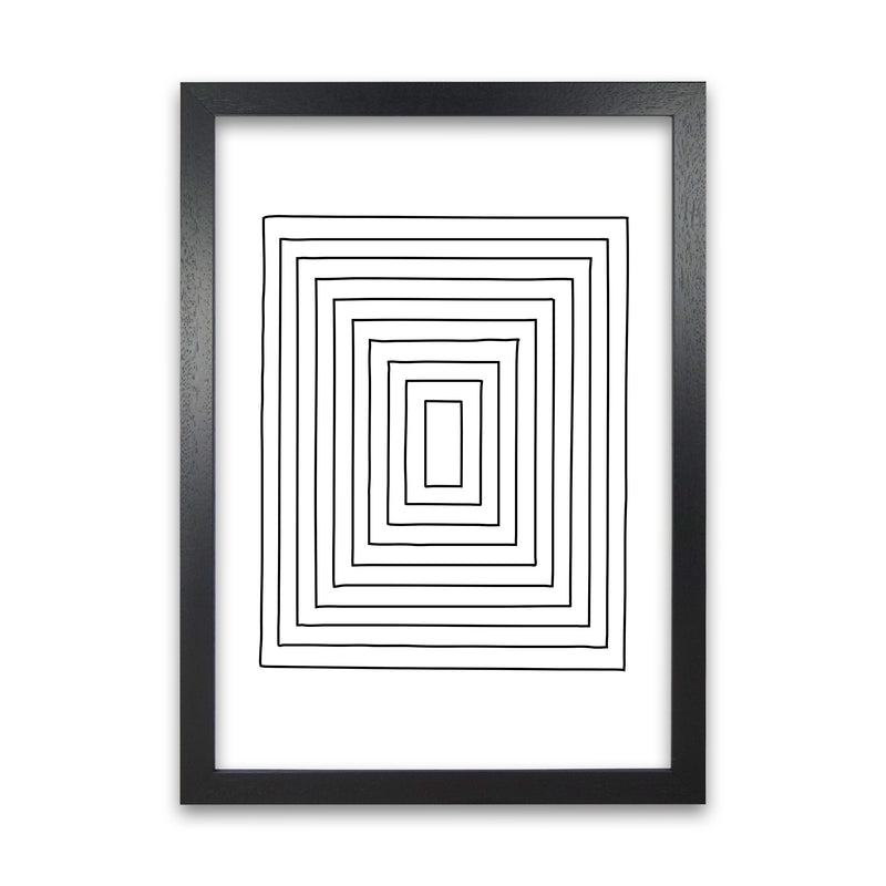 Geometric Set of 2 Black and White  Print B A1 Black Grain Frame