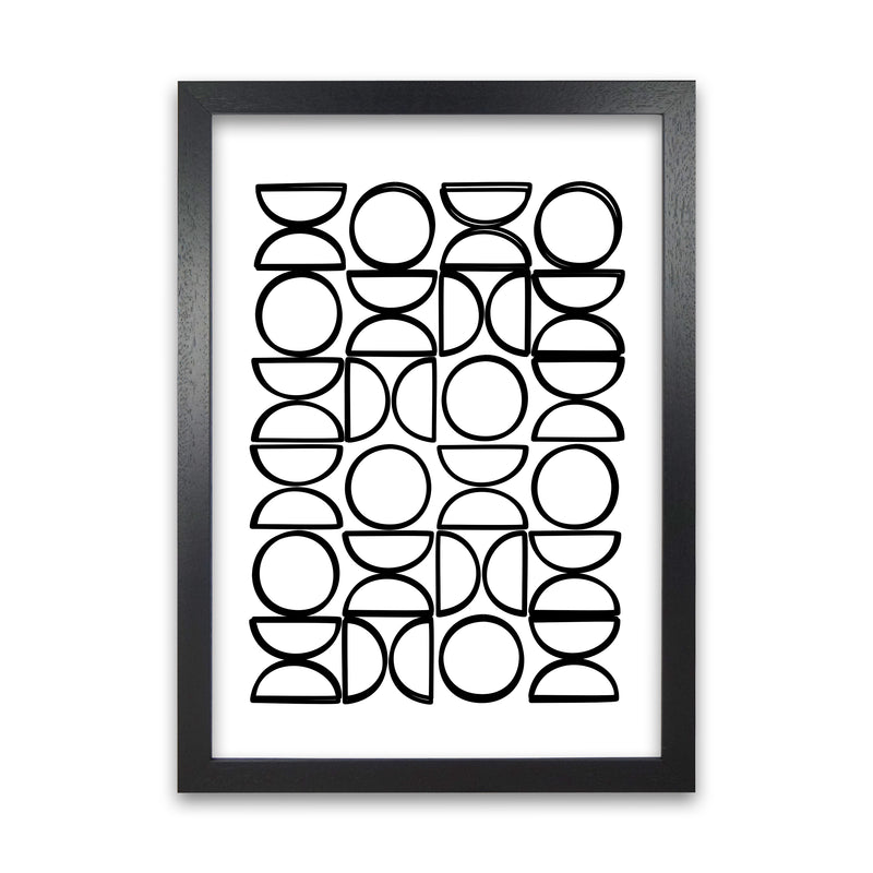 Black and White Mid Century Geometric Print A A1 Black Grain Frame