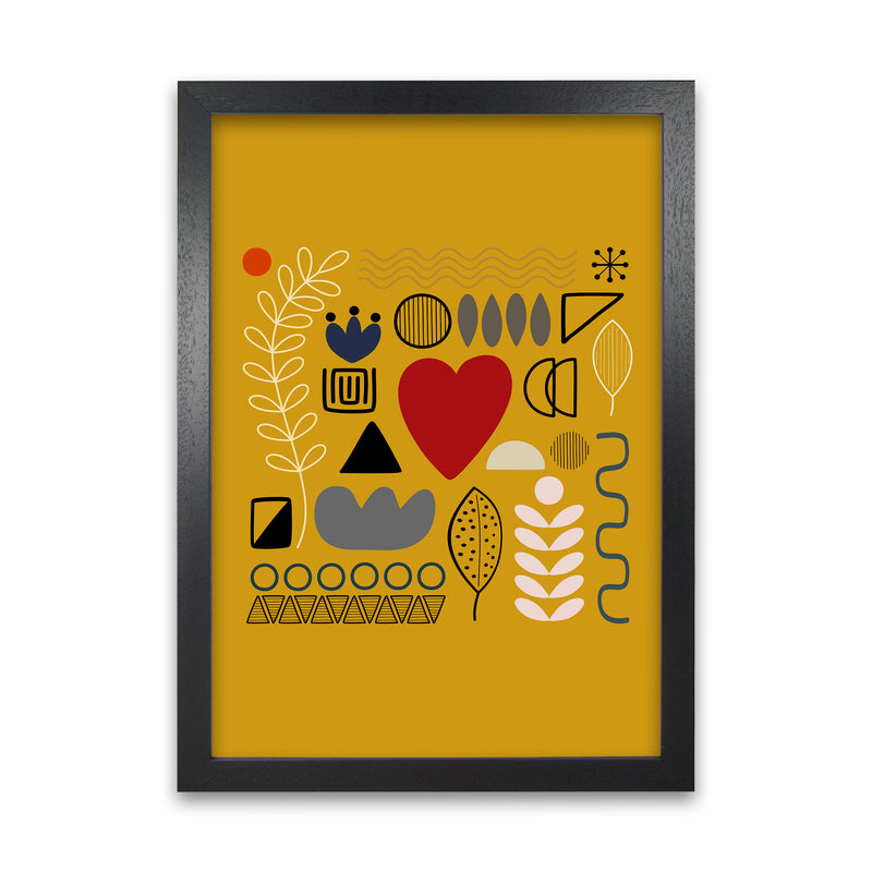 Yellow Scandinavian Abstract Shapes Original A1 Black Grain Frame