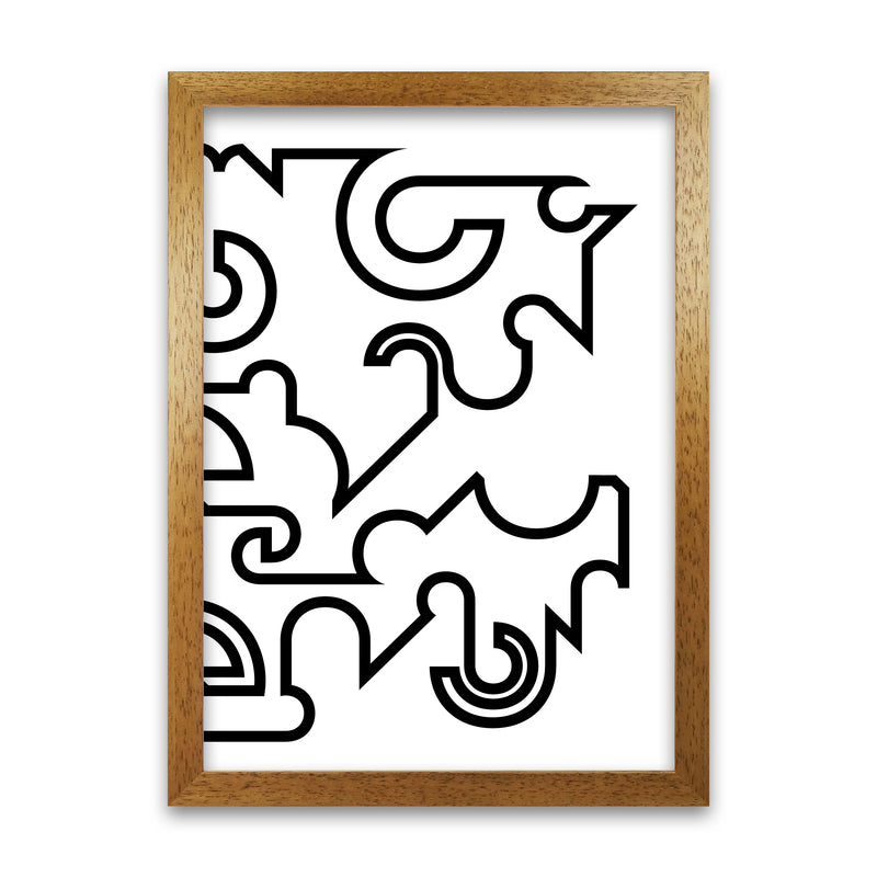 Abstract Black and White Minimal Line Right A1 Honey Oak Frame