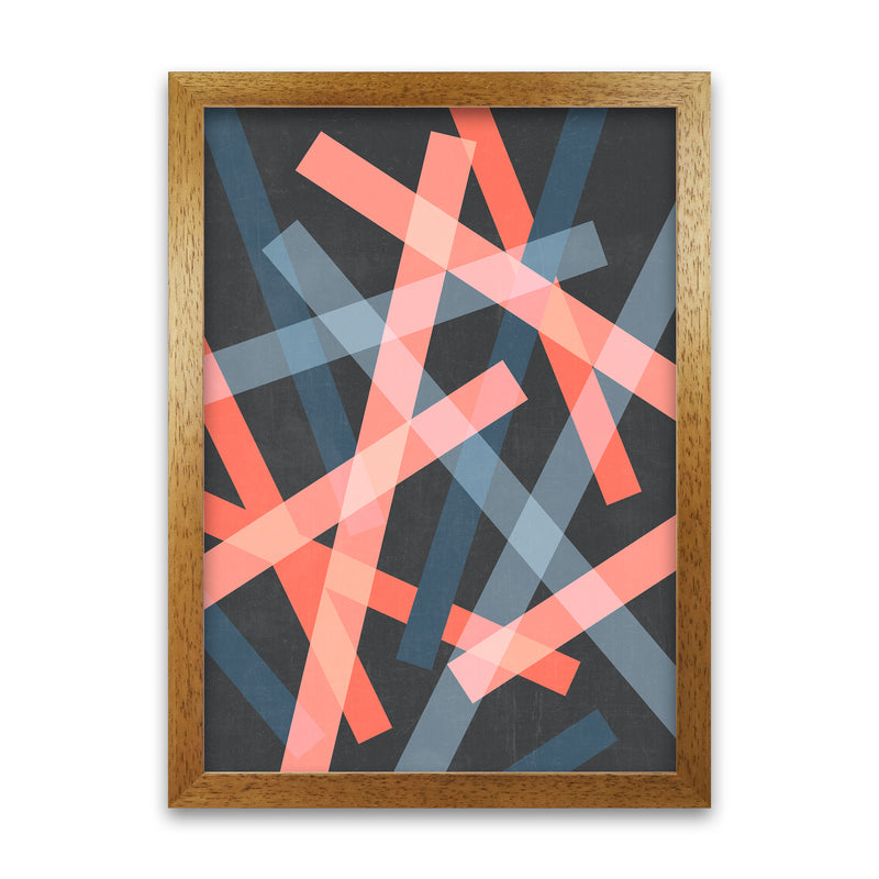 Abstract Colourful Print B A1 Honey Oak Frame