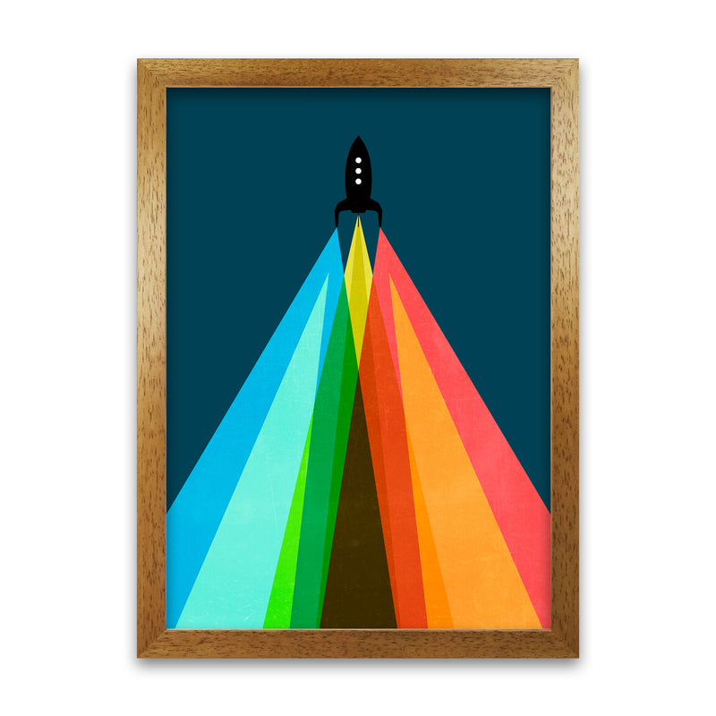 Rainbow and Navy Rocket A A1 Honey Oak Frame