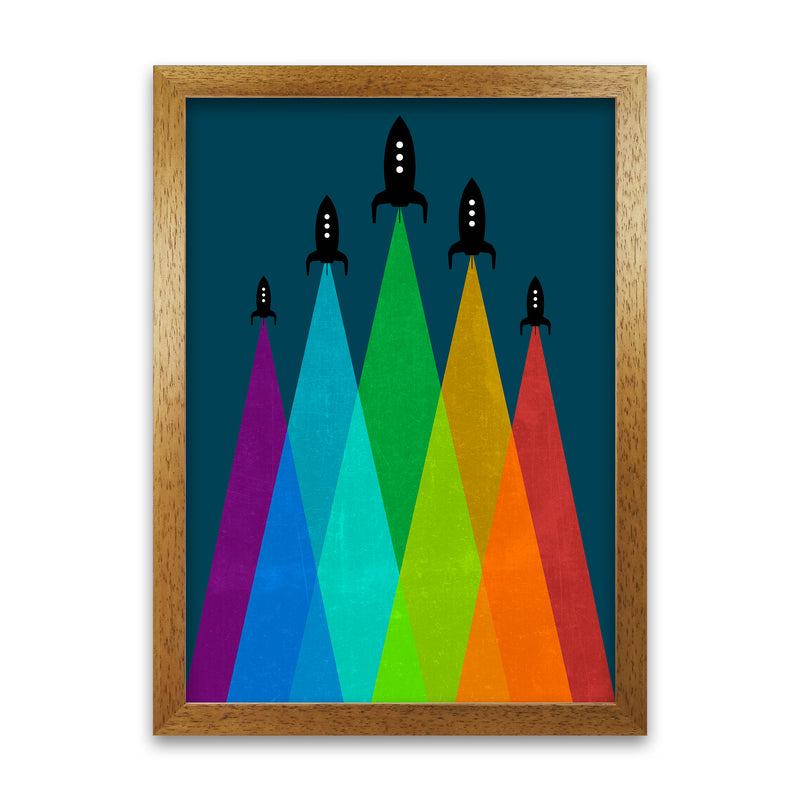 Rainbow and Navy Rocket B A1 Honey Oak Frame