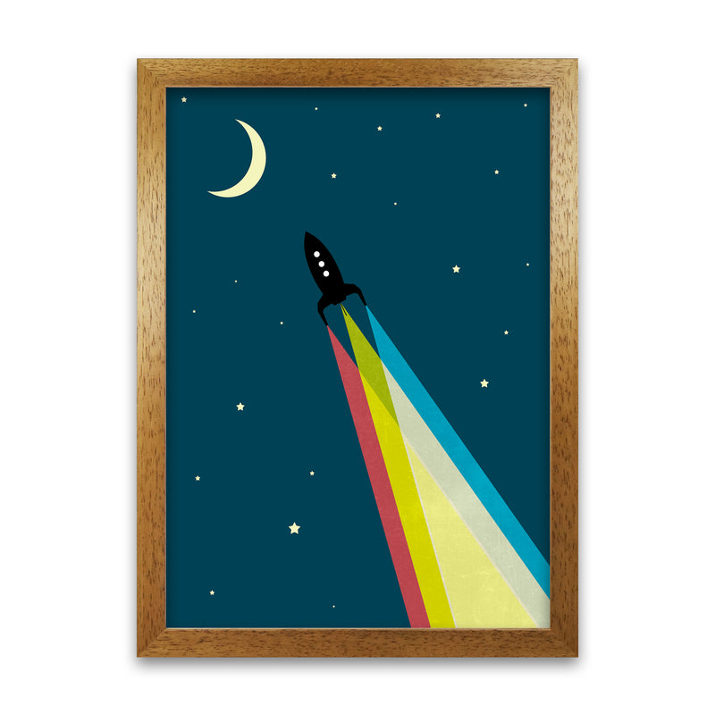 Rocket Bedroom Print A A1 Honey Oak Frame