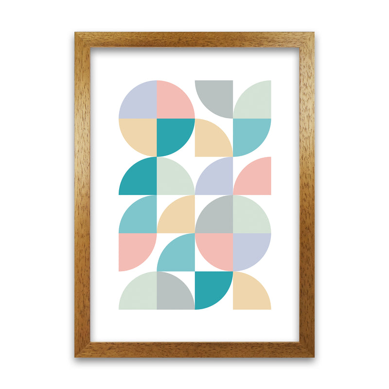 Abstract Pastel Nursery Print A A1 Honey Oak Frame