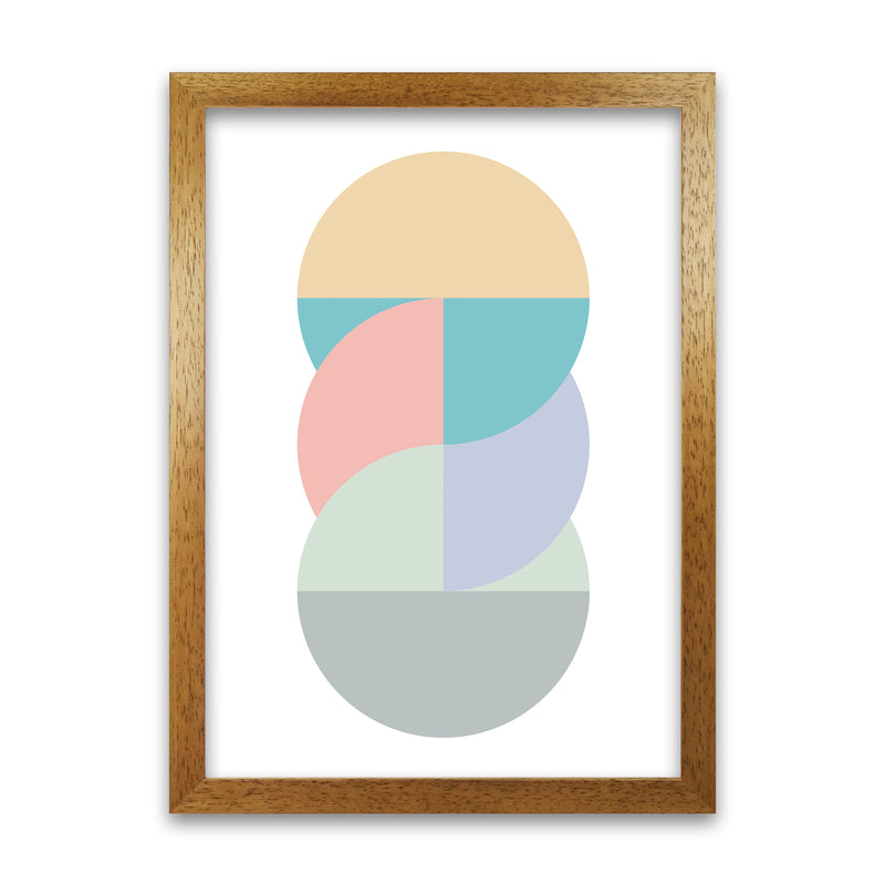 Abstract Pastel Nursery Print B A1 Honey Oak Frame