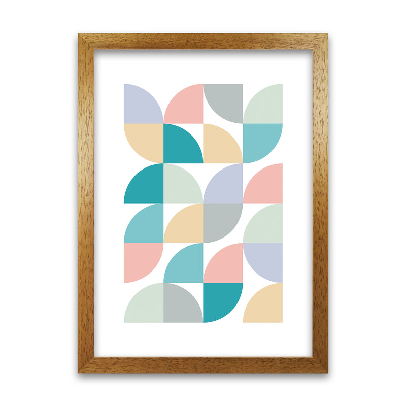 Abstract Pastel Nursery Print C A1 Honey Oak Frame