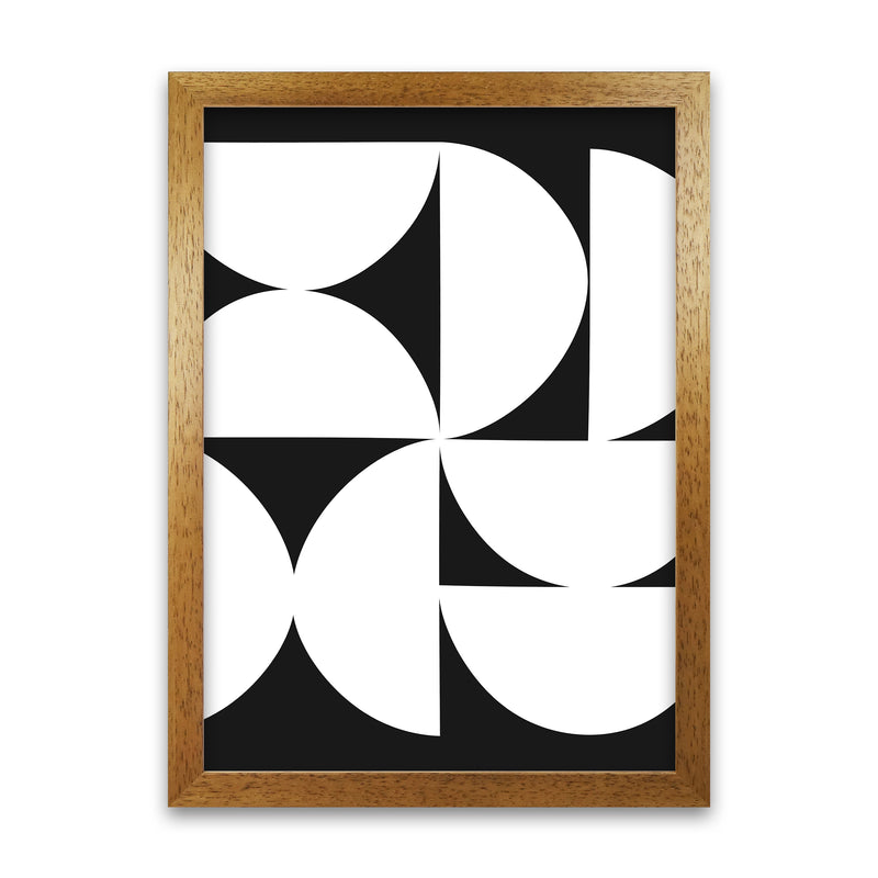 Abstract Black and White Half Circles Original A1 Honey Oak Frame