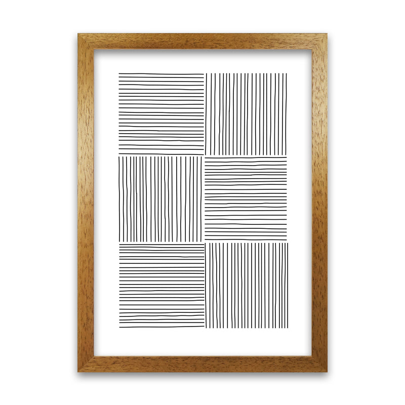 Black and White Squared Lines A1 Honey Oak Frame