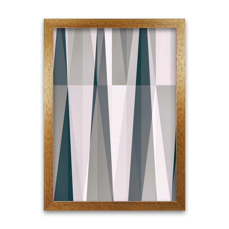 Mono Triangles Abstract Original  A1 Honey Oak Frame