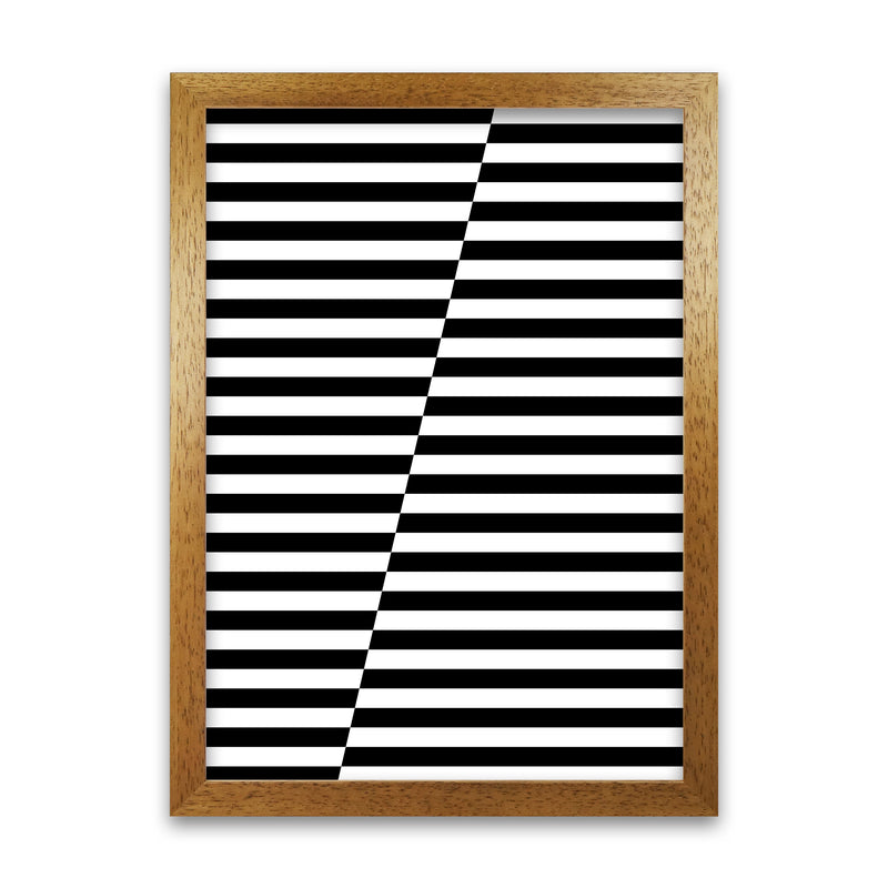 Black and White Stripe ALT A1 Honey Oak Frame