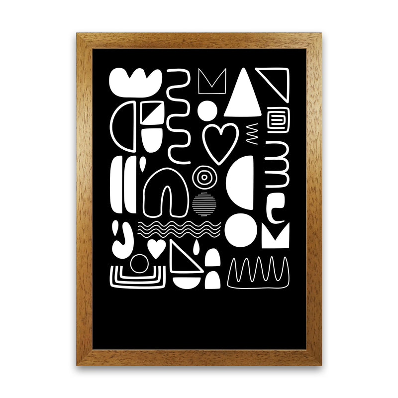 White and Black Scandi Shapes A1 Honey Oak Frame