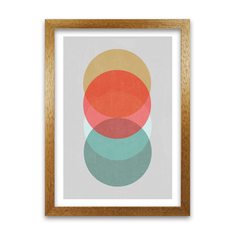 Mid Century Circles in Scandi Colours A A1 Honey Oak Frame