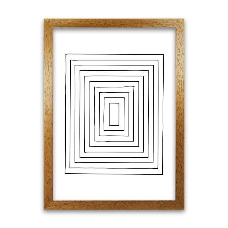 Geometric Set of 2 Black and White  Print B A1 Honey Oak Frame
