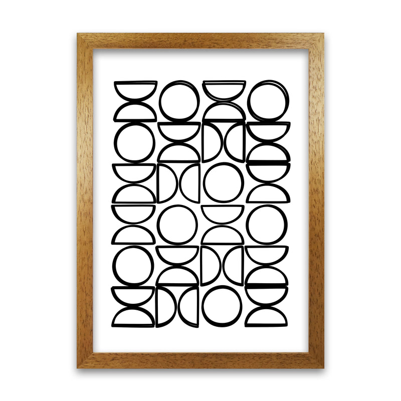 Black and White Mid Century Geometric Print A A1 Honey Oak Frame