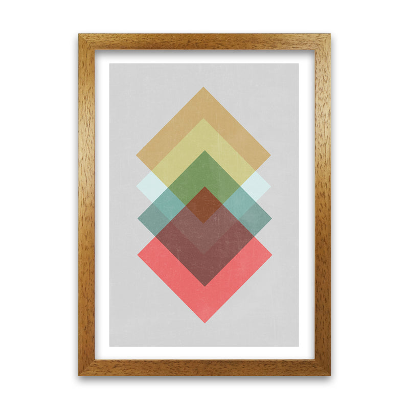Mid Century Shapes in Scandi Colours B A1 Honey Oak Frame