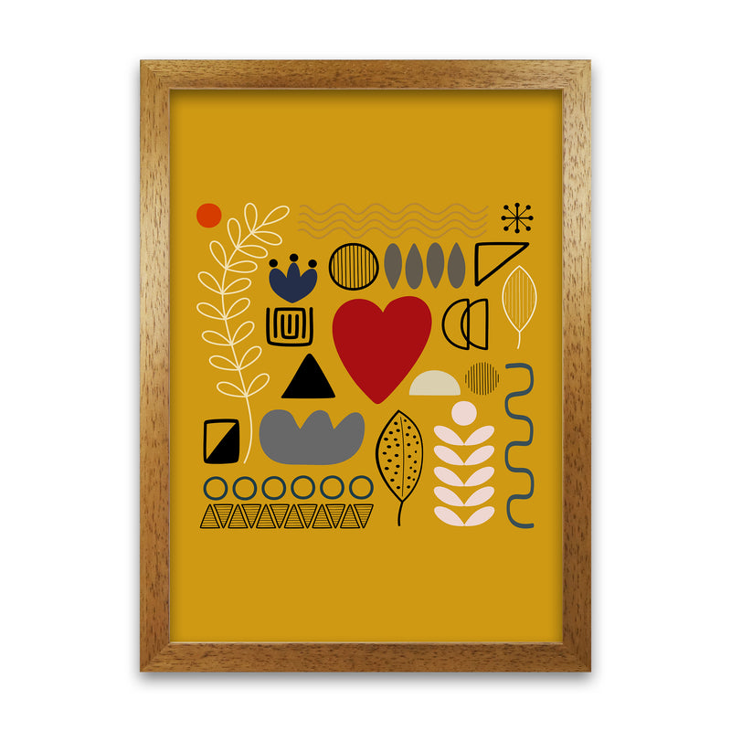Yellow Scandinavian Abstract Shapes Original A1 Honey Oak Frame
