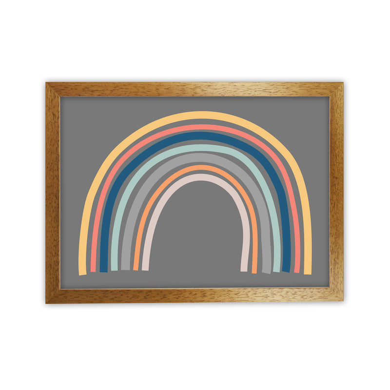 Rainbow on Gray Original  A1 Honey Oak Frame
