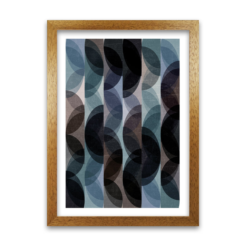 Set of 2 Blue Colourful Abstract Wall Art B A1 Honey Oak Frame