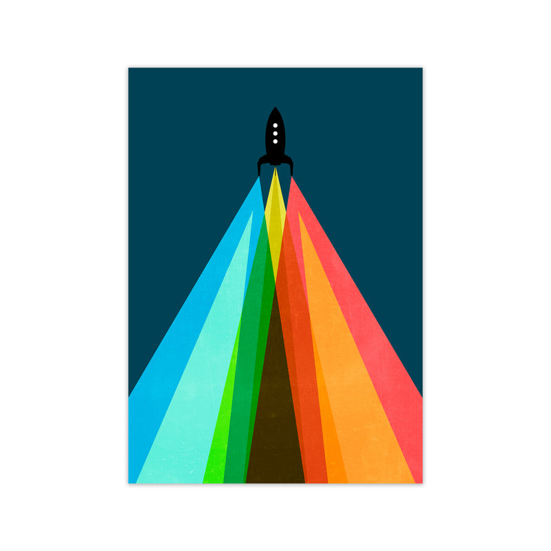 Rainbow and Navy Rocket A A1 Print Only