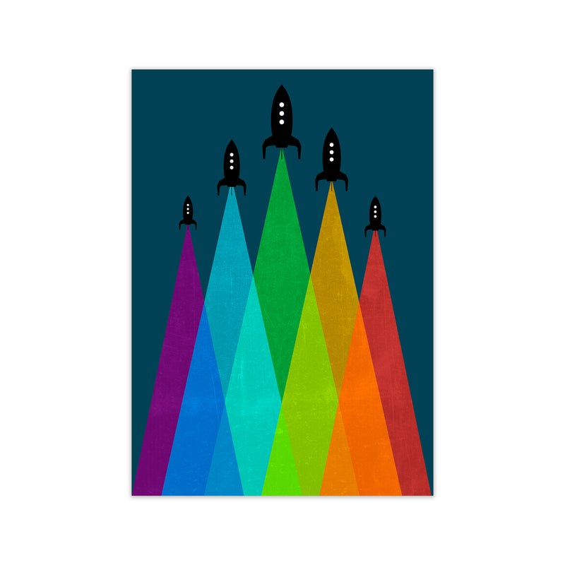 Rainbow and Navy Rocket B A1 Print Only