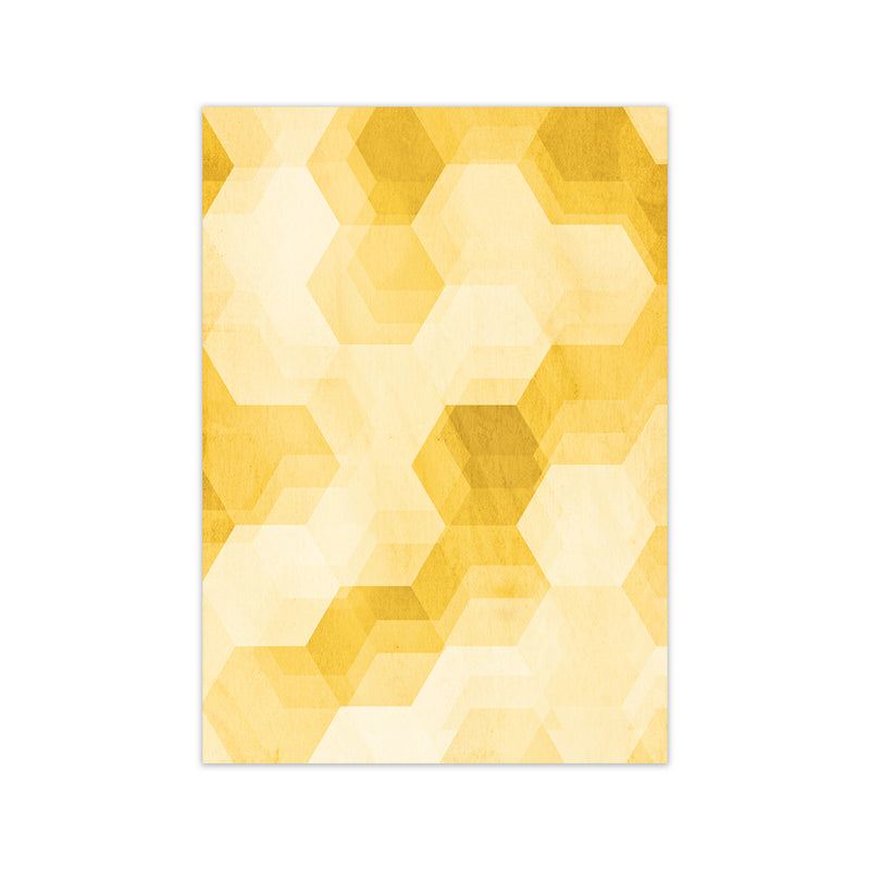 Set of 2 Yellow Hexagon Abstract Print A A1 Print Only