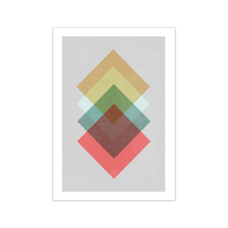 Mid Century Shapes in Scandi Colours B A1 Print Only