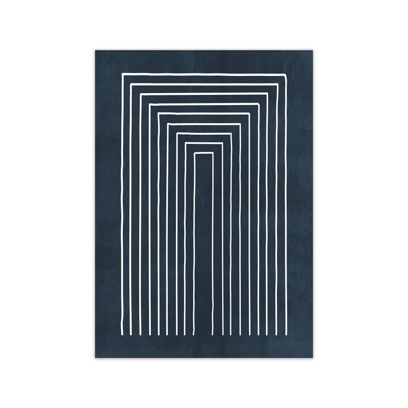 Lino Style Blue Geometric Lines A1 Print Only