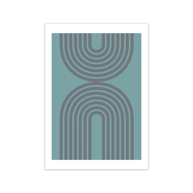 Grey and Blue Modern Rainbow A1 Print Only