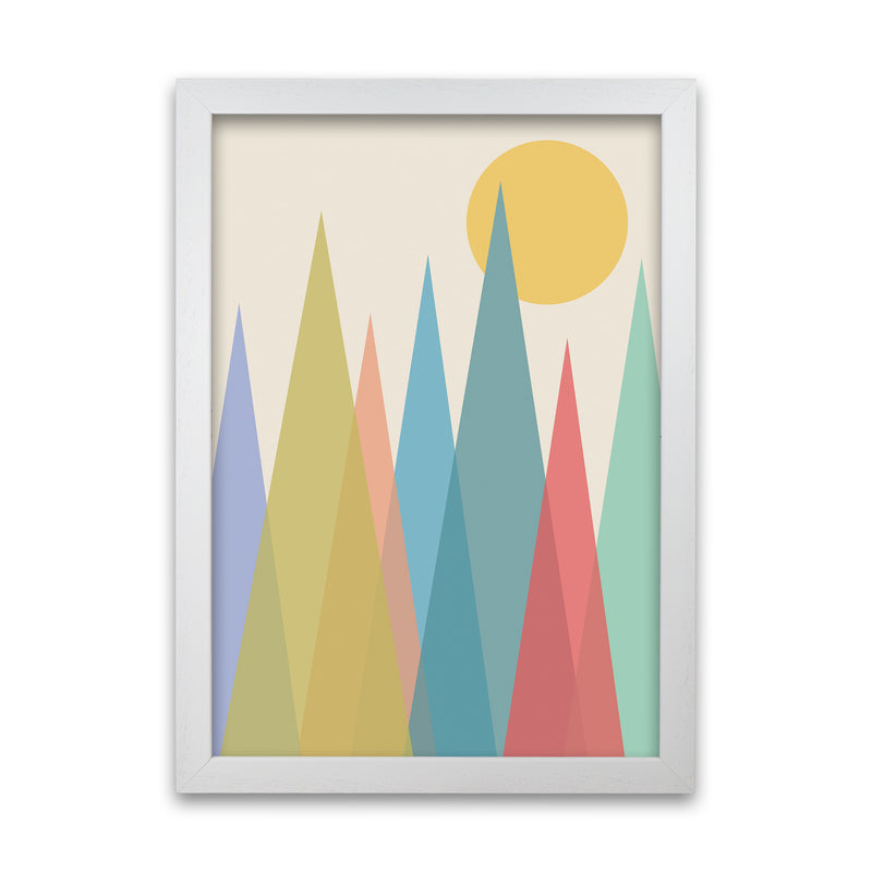 Day and Night Nursery Mid Century Modern Art Print A1 White Grain Frame