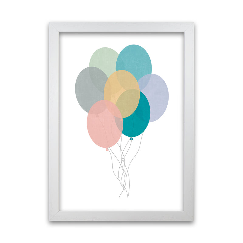 Nursery Collection Balloons A1 White Grain Frame