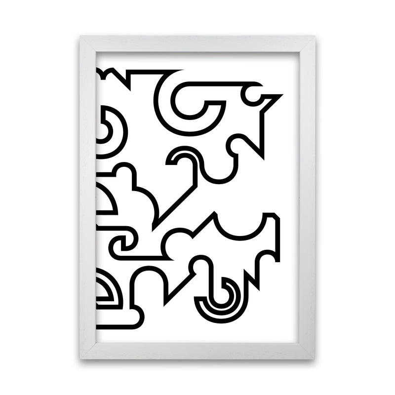 Abstract Black and White Minimal Line Right A1 White Grain Frame