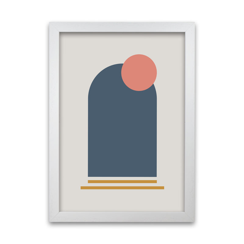 Mid Century Modern Prints on Grey B A1 White Grain Frame