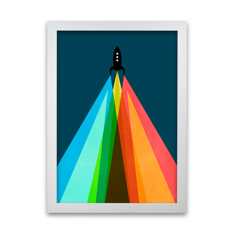 Rainbow and Navy Rocket A A1 White Grain Frame